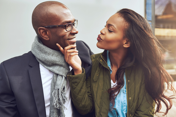 Young African American couple flirting